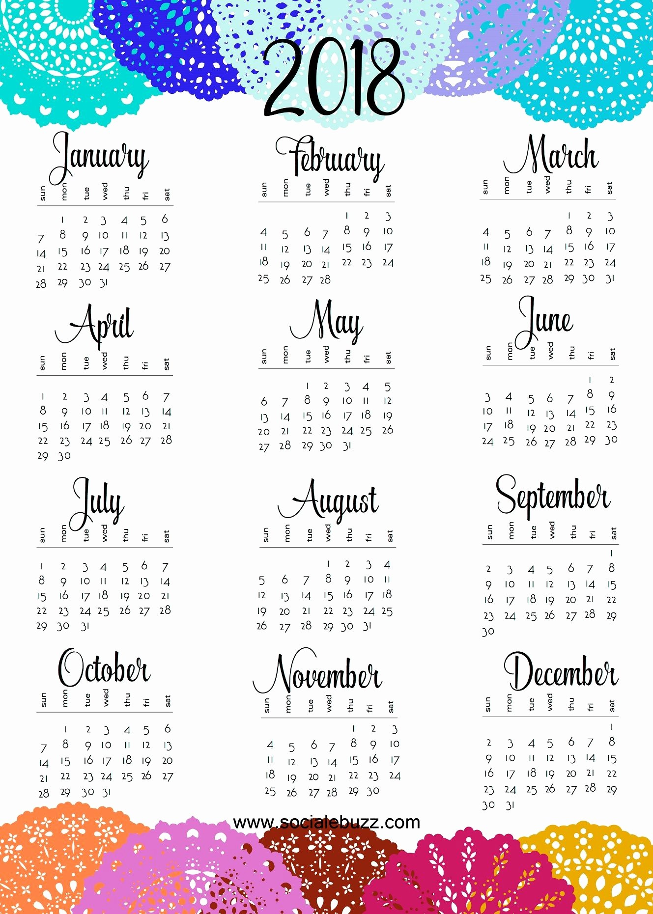 At A Glance 2018 Calendar Unique Printable 2018 Calendar