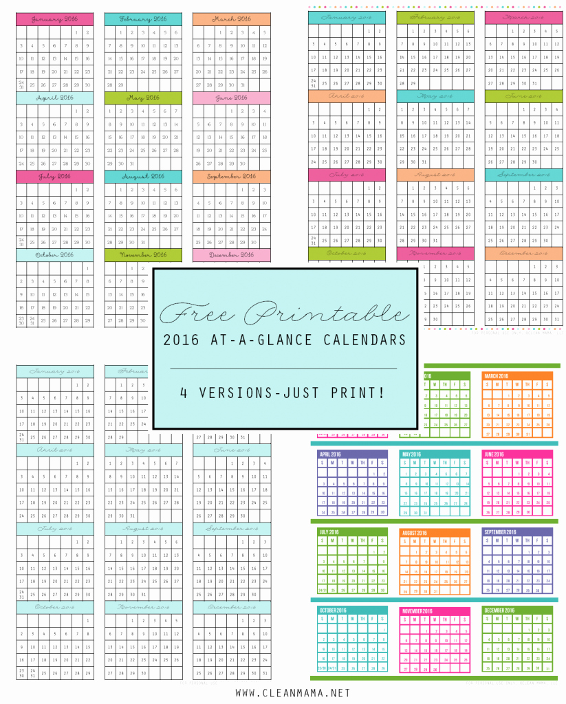 At A Glance Yearly Calendars Awesome Free 2016 at A Glance Calendars Clean Mama