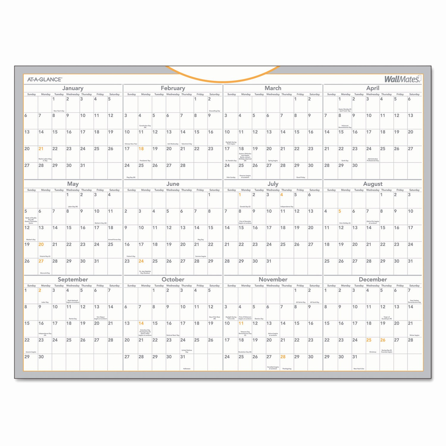 At A Glance Yearly Calendars Beautiful Wallmates Self Adhesive Dry Erase Yearly Calendar by at A