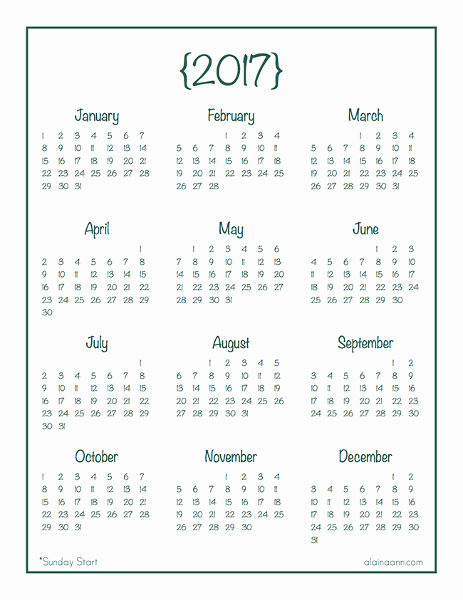 At A Glance Yearly Calendars Elegant 2017 Year at A Glance Calendar Free Printable Alaina