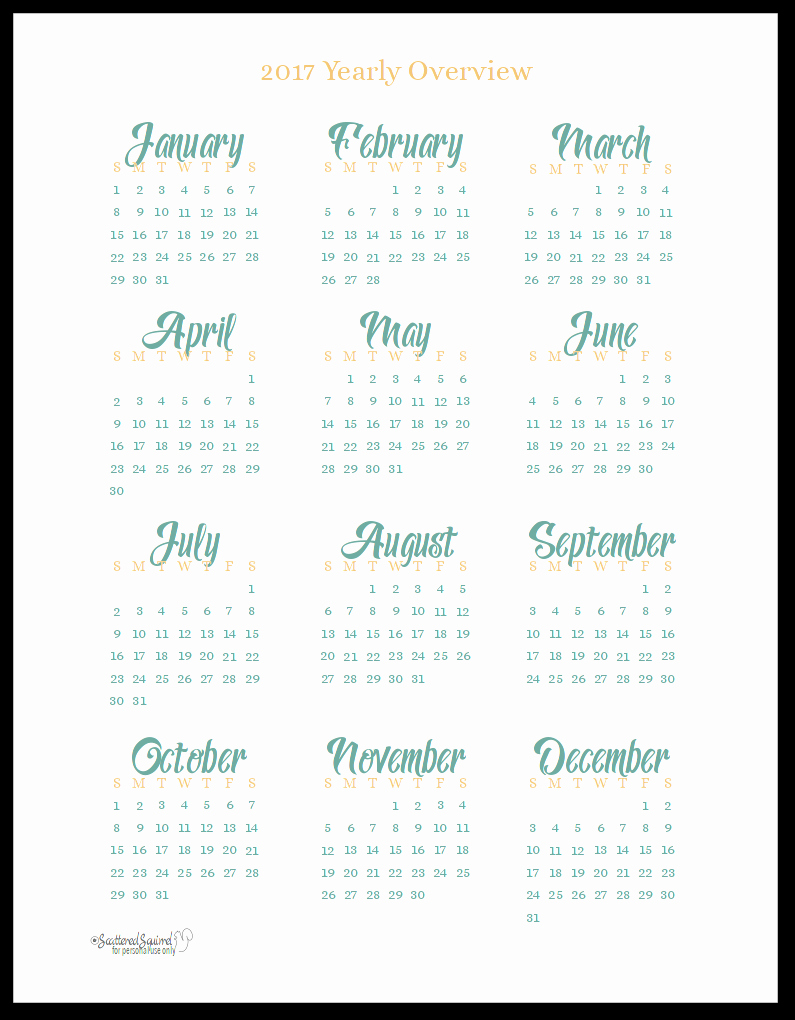 At A Glance Yearly Calendars Elegant 2017 Year at A Glance Scattered Squirrel