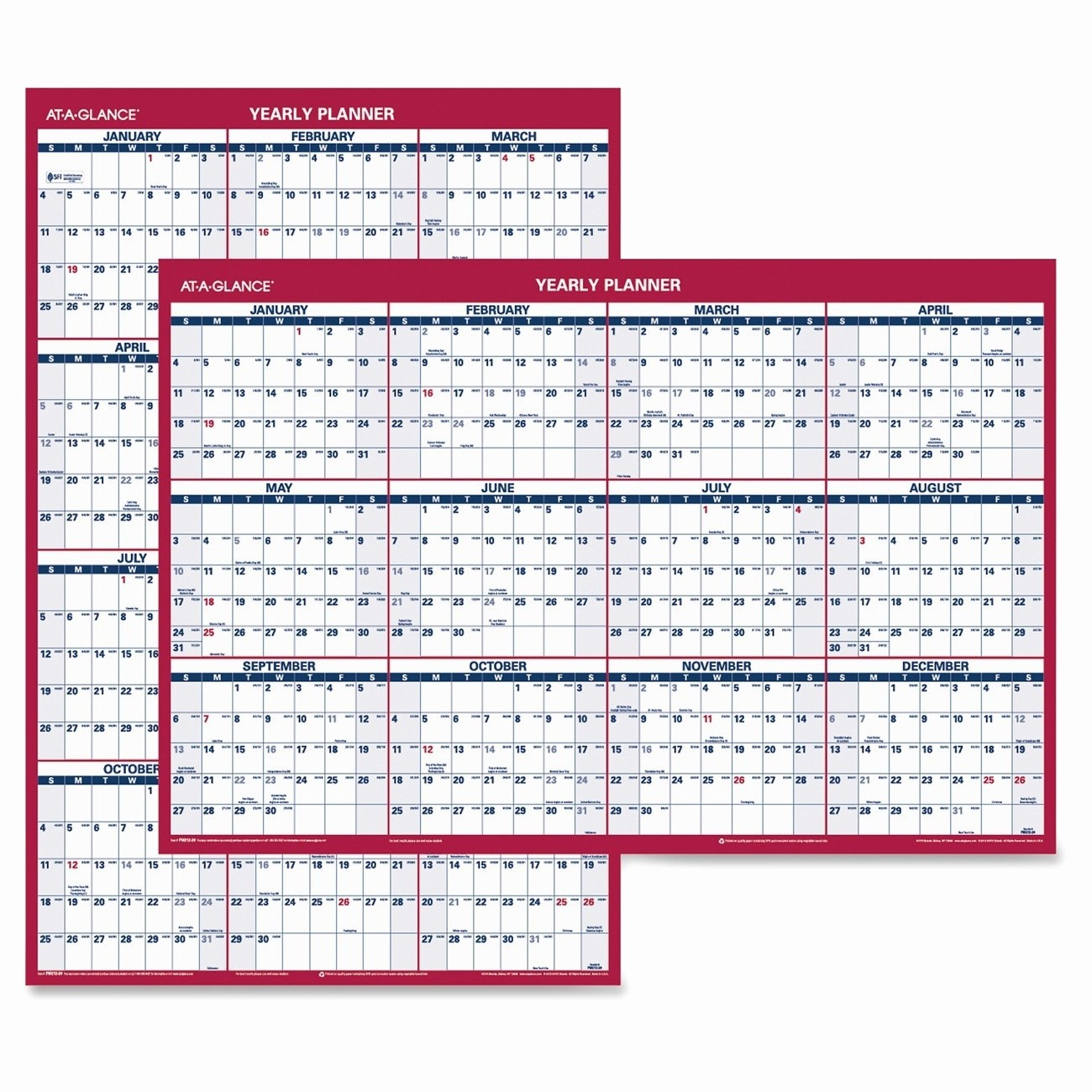 At A Glance Yearly Calendars Elegant at A Glance Reversible Yearly Wall Calendar Ld Products