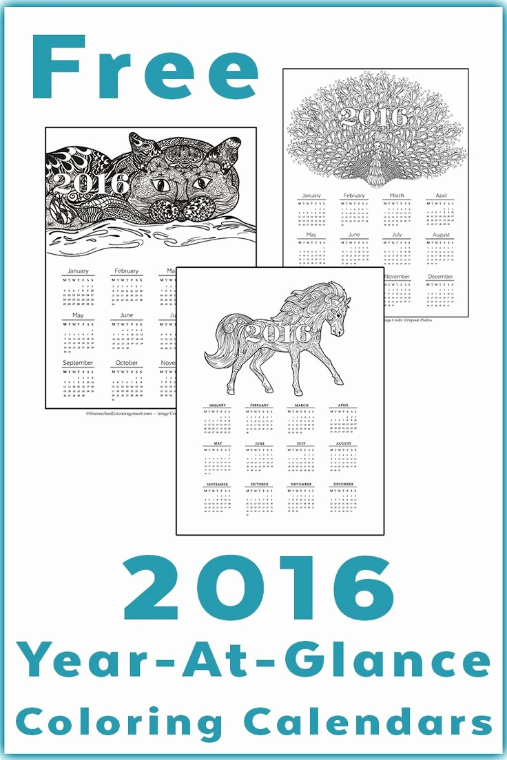 At A Glance Yearly Calendars Inspirational 2016 Calendar Printable Year at A Glance Grown Up Coloring