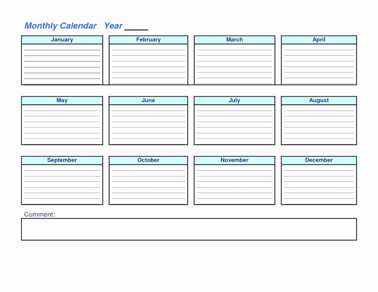 At A Glance Yearly Calendars Luxury Year at A Glance Blank Calendar Template Free Calendar