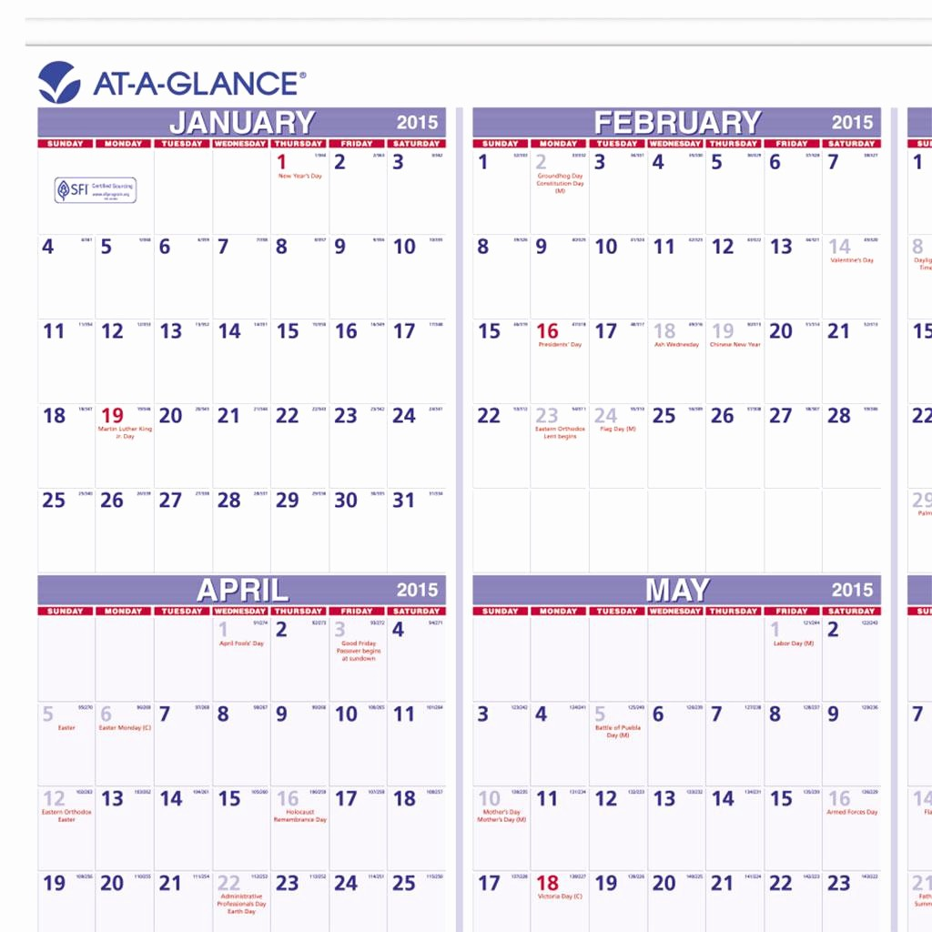 At A Glance Yearly Calendars New Amazon at A Glance Yearly Wall Calendar 2015 24 X