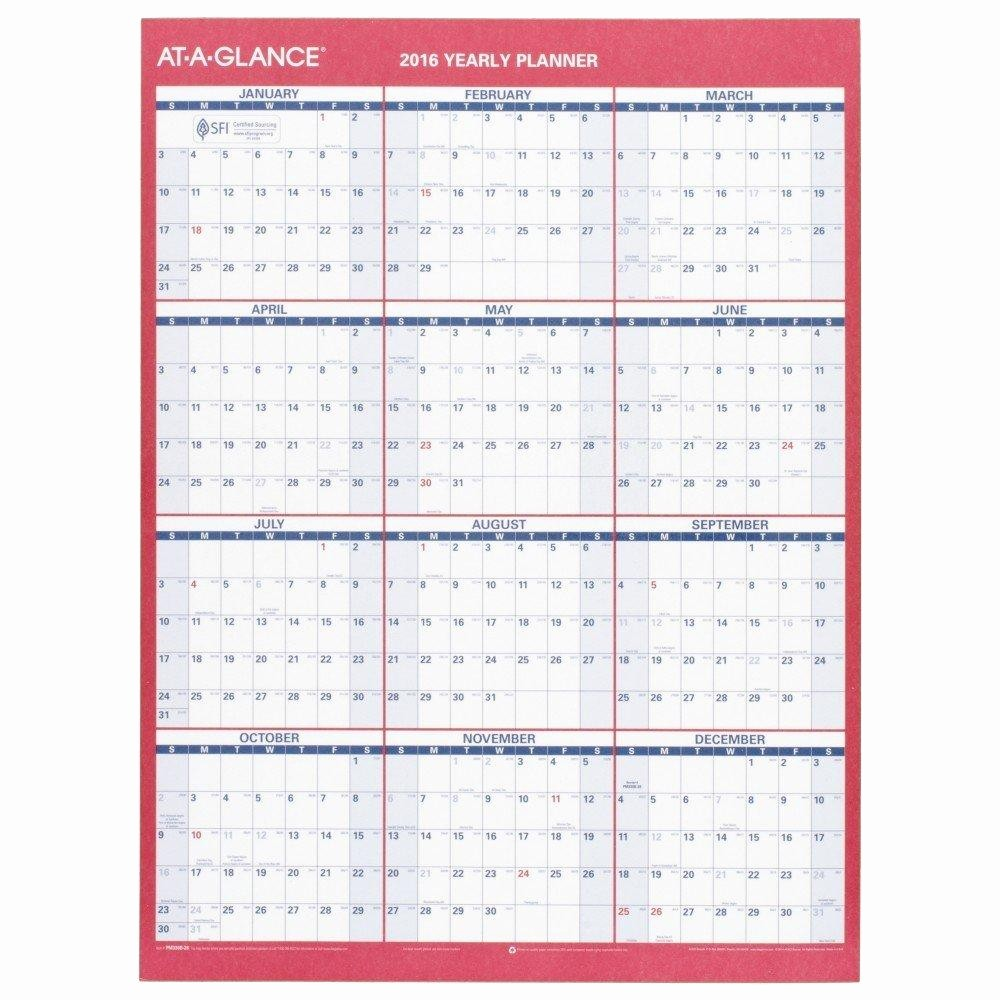 At A Glance Yearly Calendars Unique Amazon at A Glance Yearly Wall Calendar 2016