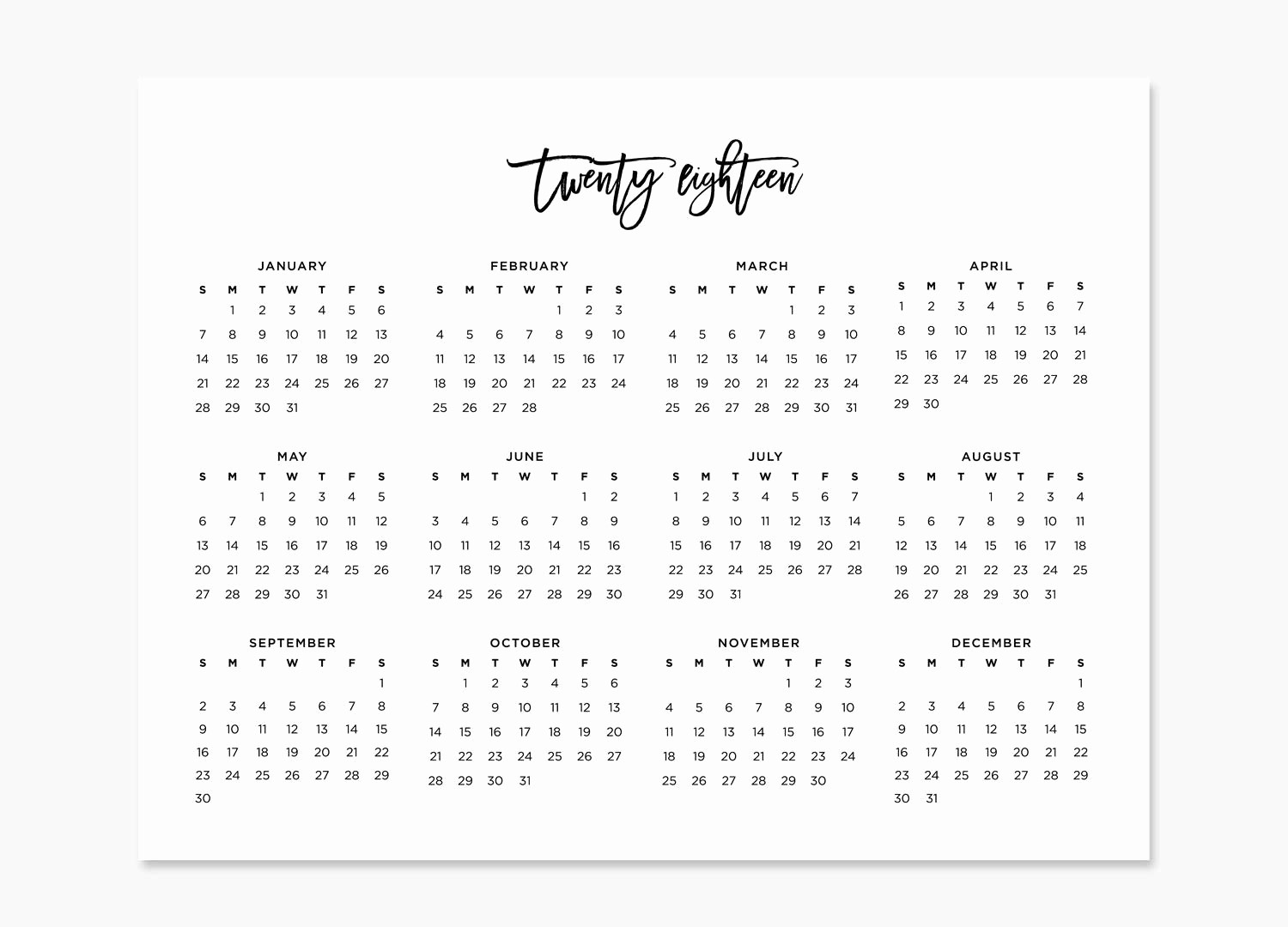 At A Glance Yearly Calendars Unique Year at A Glance 2018 Calendar Printable