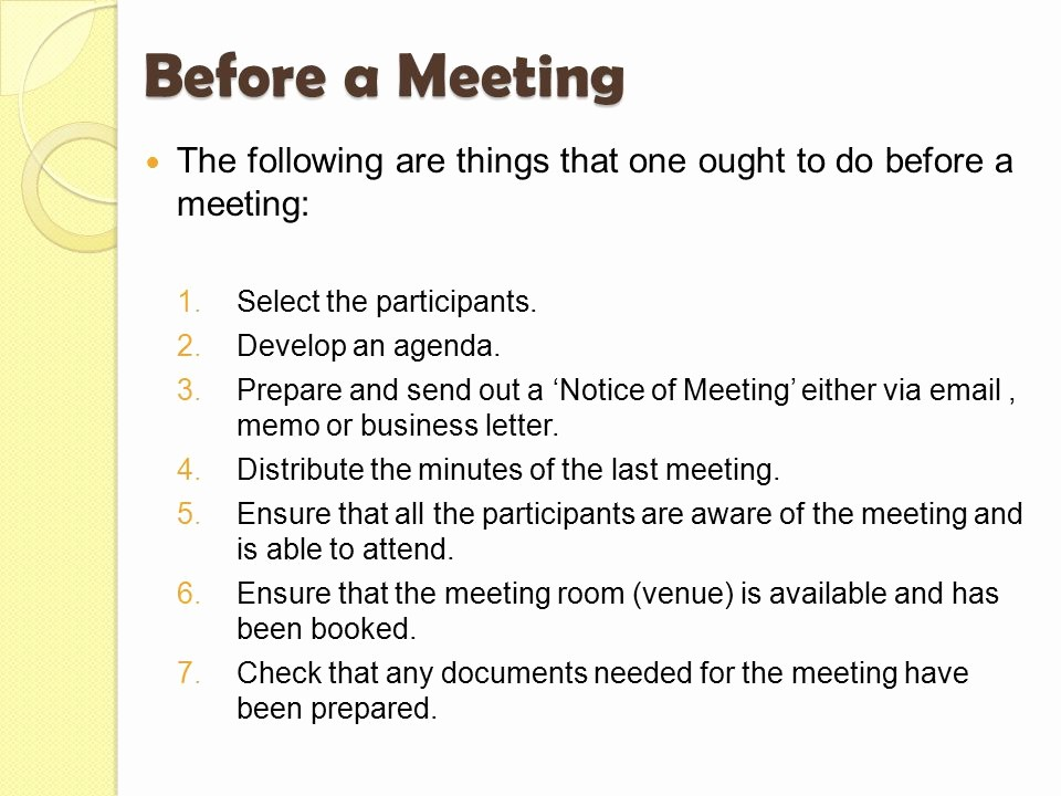 At Meeting or In Meeting Unique Meetings before During & after Ppt Video Online