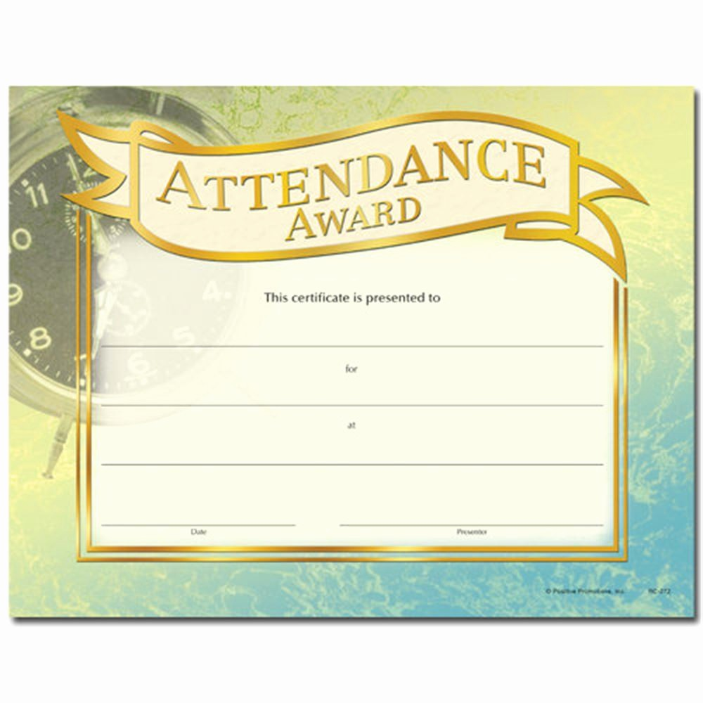 Attendance Certificate format for Employees Beautiful attendance Award Gold Foil Stamped Certificates