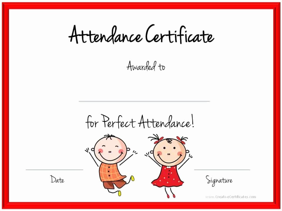 Attendance Certificate format for Employees Beautiful Perfect attendance Award Certificates