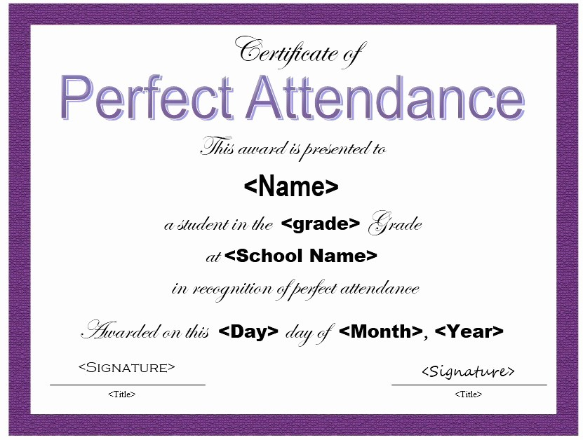 Attendance Certificate format for Employees Best Of 13 Free Sample Perfect attendance Certificate Templates