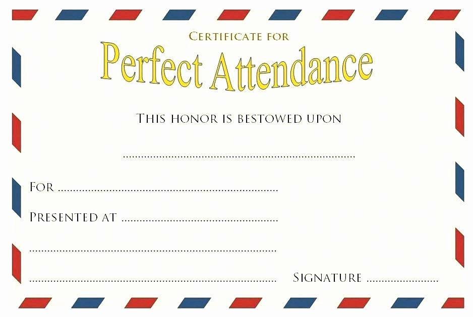 Attendance Certificate format for Employees Inspirational Perfect attendance Award Certificate Template Certificates