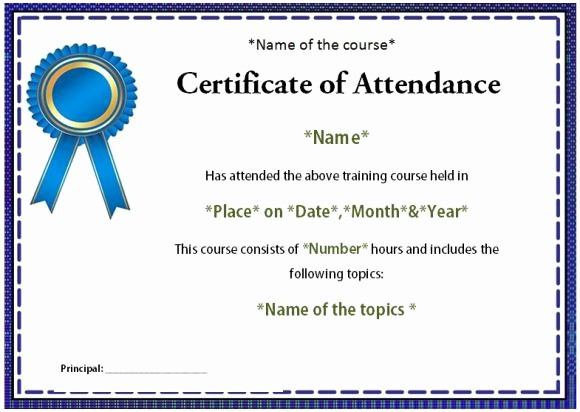 Attendance Certificate format for Employees Luxury Course attendance Certificate Template 10 Editable Word