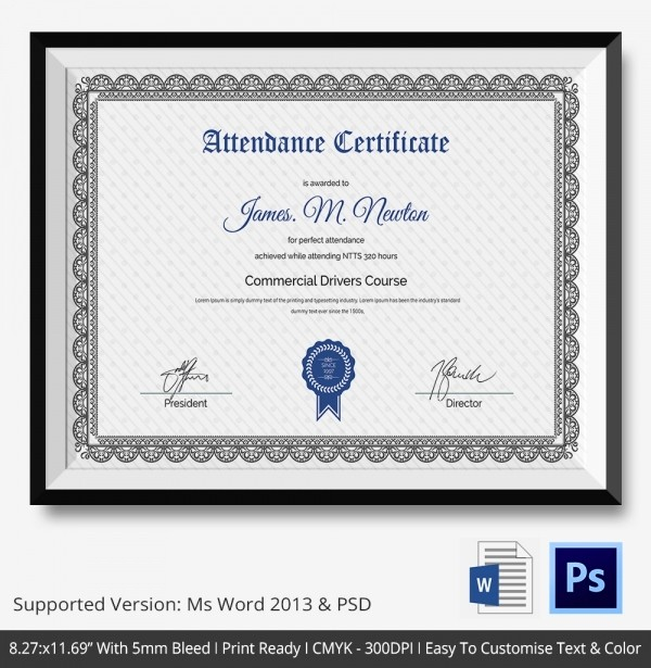 Attendance Certificate format for Employees New attendance Certificate Template – 24 Free Word Pdf