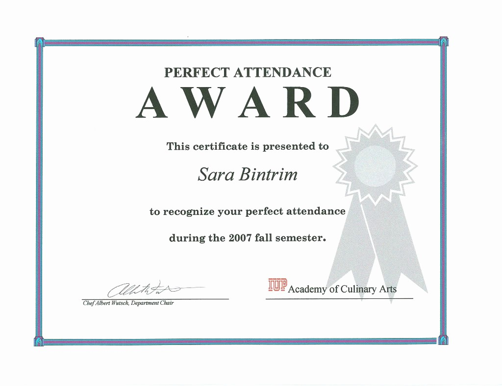 Attendance Certificate format for Employees New Free Printable Perfect attendance Certificate Template