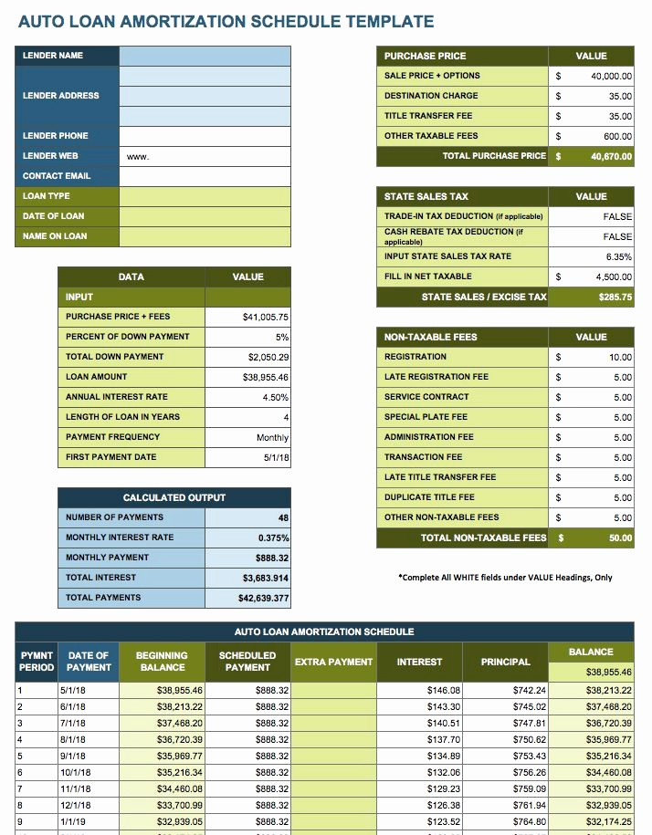 Auto Amortization Calculator Extra Payments Lovely Amortization Table Auto Loan