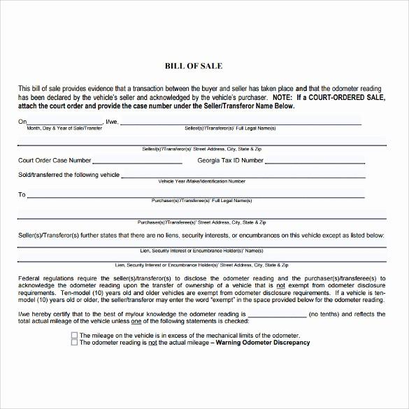 Auto Bill Of Sale Georgia Unique 7 Used Car Bill Of Sale Templates Download for Free