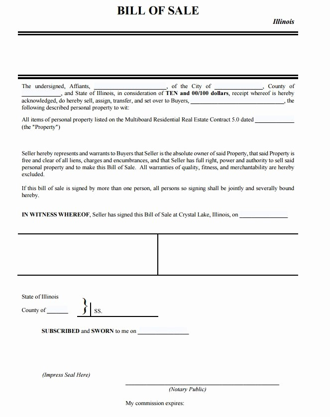 Auto Bill Of Sale Illinois Inspirational Free Illinois Personal Property Bill Of Sale form