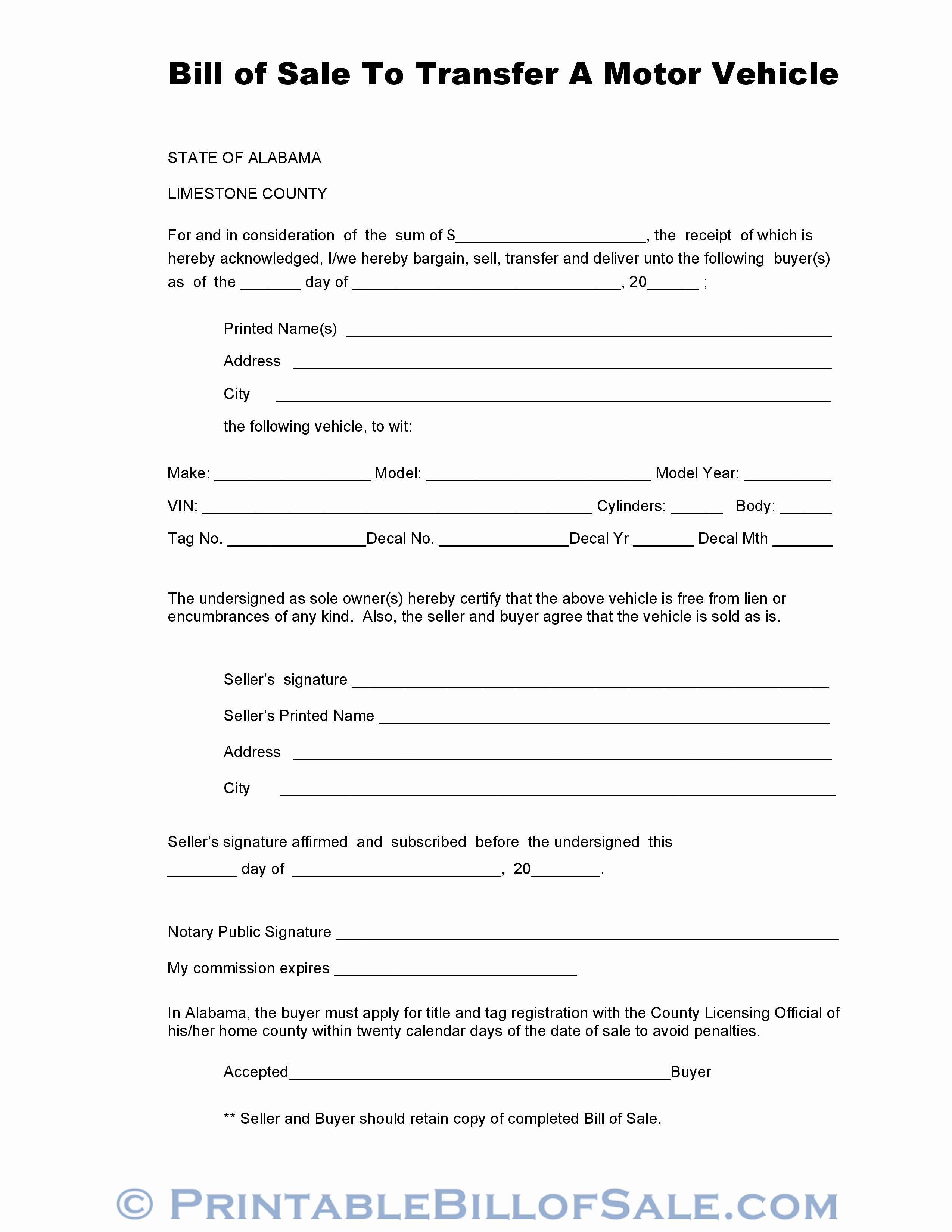 Auto Bill Of Sale Illinois New Free Limestone County Alabama Vehicle Bill Of Sale form