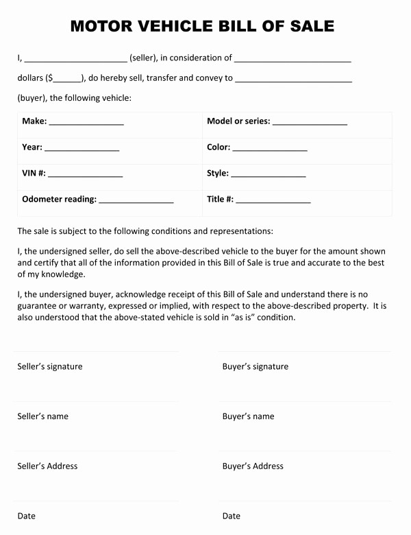 Auto Bill Of Sales form Lovely Motor Vehicle Bill Sale form