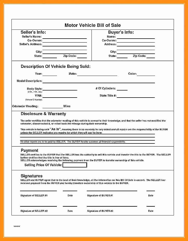 Auto Bill Of Sales form New 12 13 Blank Bill Of Sale for Car