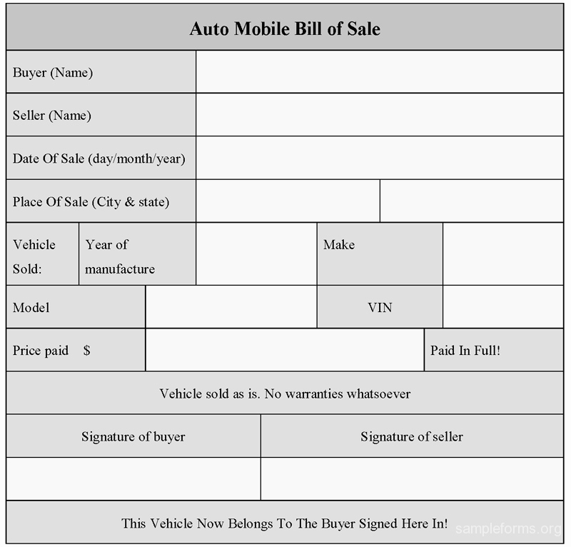 Auto Bill Of Sales form New Auto Mobile Bill Of Sale Of form Sample forms