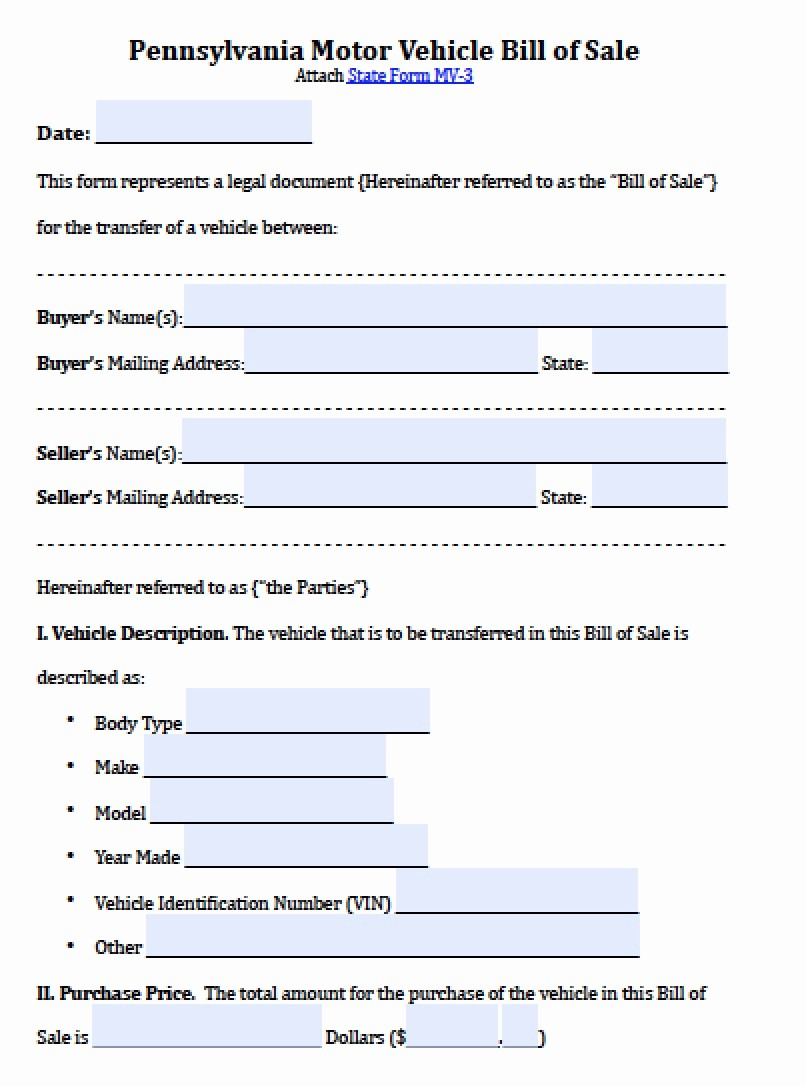 Auto Bill Of Sales form New Free Pennsylvania Motor Vehicle Bill Of Sale form
