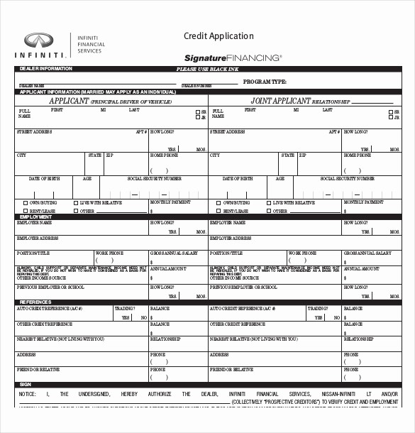 Auto Credit Application form Template Best Of 15 Credit Application Templates Free Sample Example