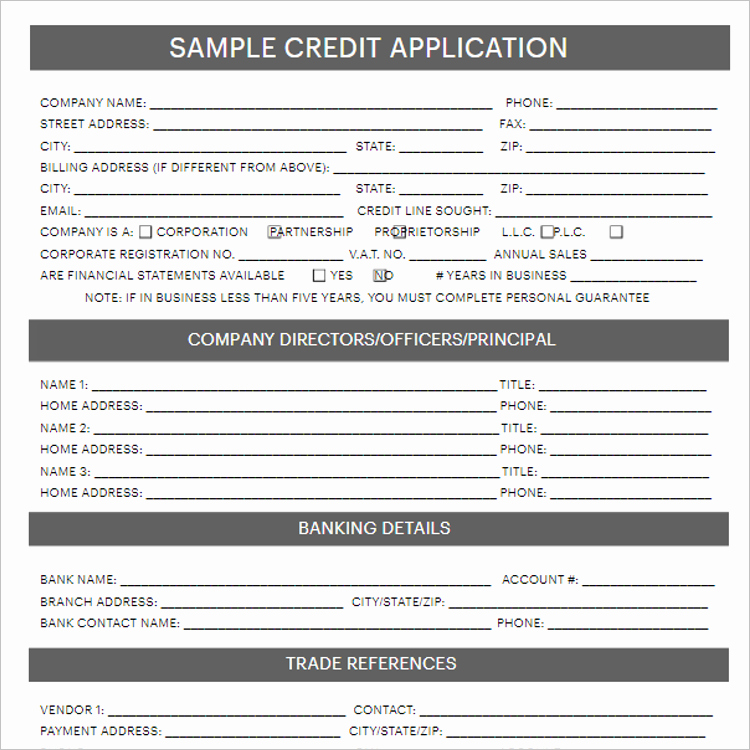Auto Credit Application form Template Elegant 24 Credit Application form Templates Free Word Pdf formats
