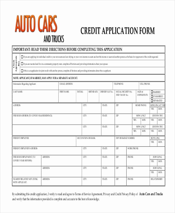 Auto Credit Application form Template Fresh Sample Credit Application form 10 Free Documents In Pdf