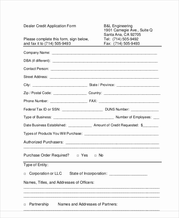 Auto Credit Application form Template Inspirational 60 Application form Examples