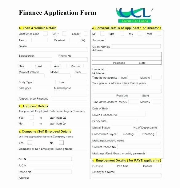 Auto Credit Application form Template Inspirational Business Credit Application Template Free Policy and