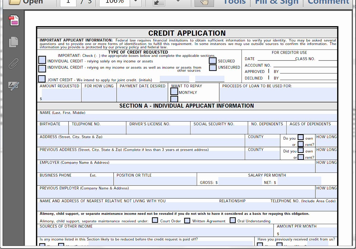 Auto Credit Application form Template Inspirational Collect Credit Applications Line with formstack