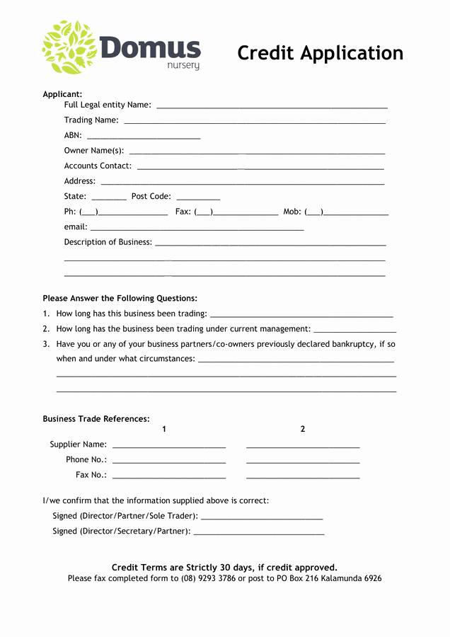 Auto Credit Application form Template Lovely Domus Nursery Credit Application form In Word and Pdf formats