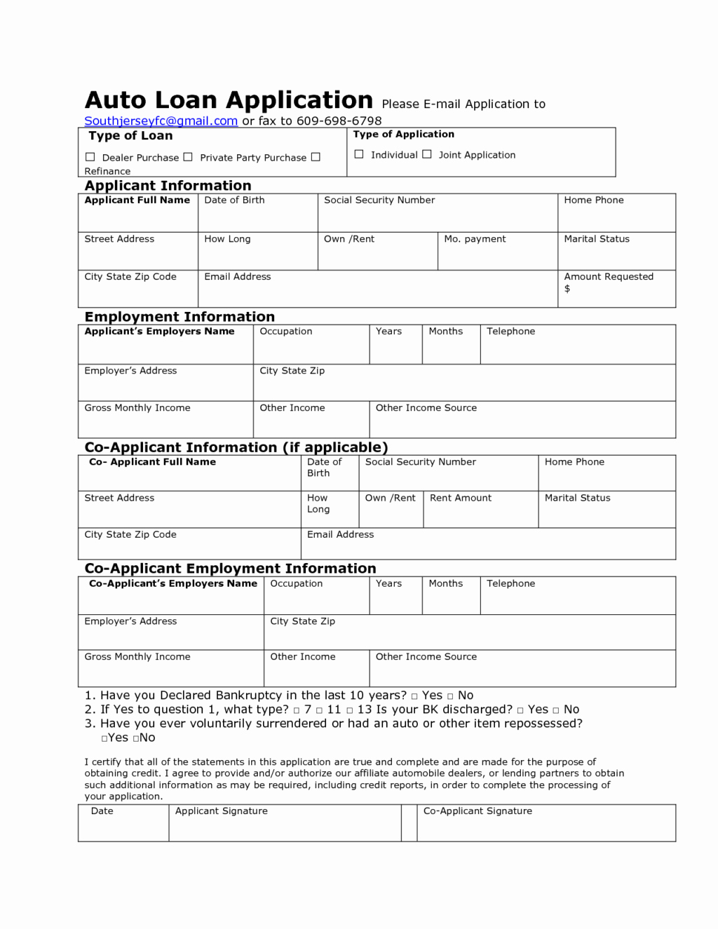 Auto Credit Application form Template New Auto Credit Application Template