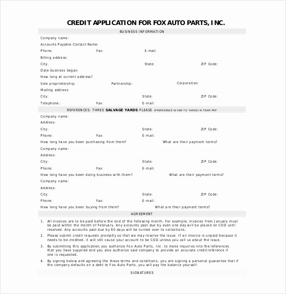 Auto Credit Application form Template Unique Credit Application Template 33 Examples In Pdf Word