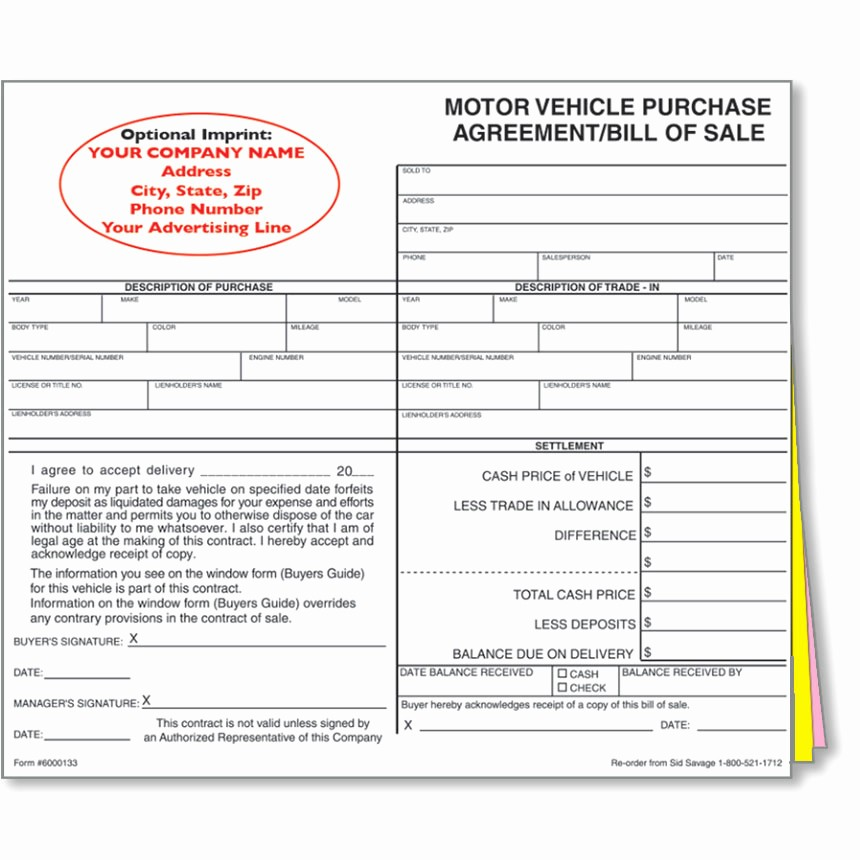 Auto Dealer Bill Of Sale Awesome Custom Imprinted Bill Of Sale Style 1