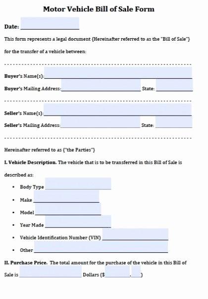 Automobile Bill Of Sale Ga Unique Free Vehicle Bill Of Sale forms Pdf