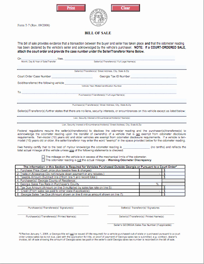 Automobile Bill Of Sale Georgia New Texas Buying Selling Autos