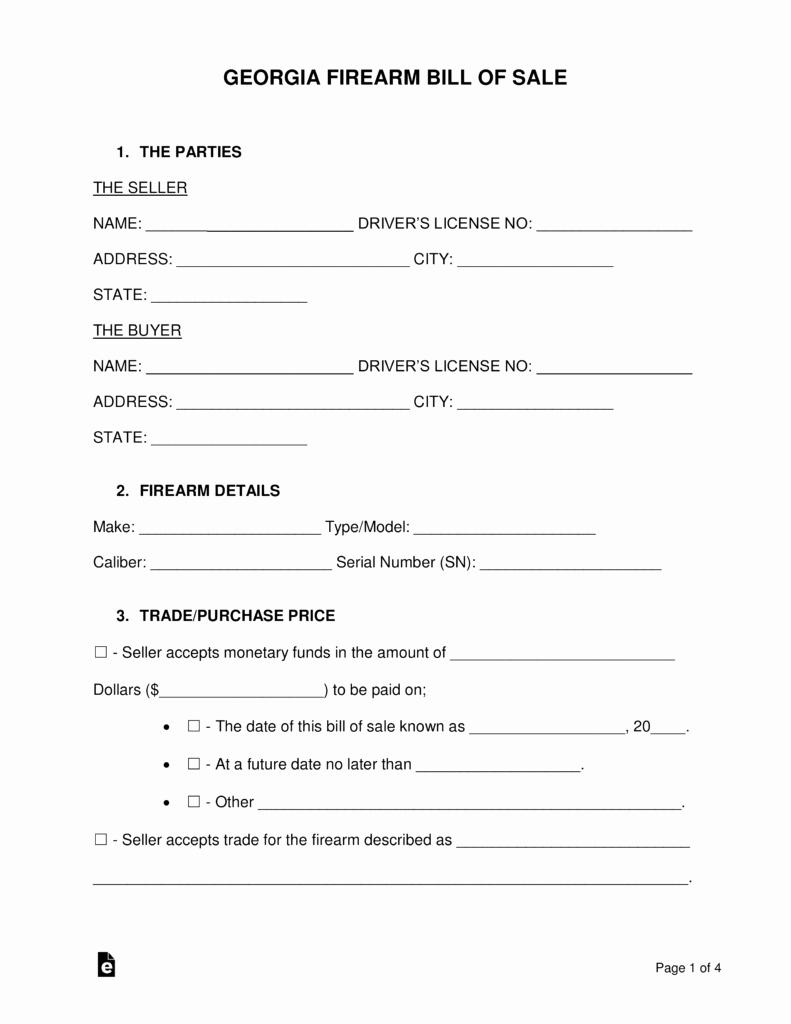 Automobile Bill Of Sale Georgia Unique Free Georgia Firearm Bill Of Sale form Word
