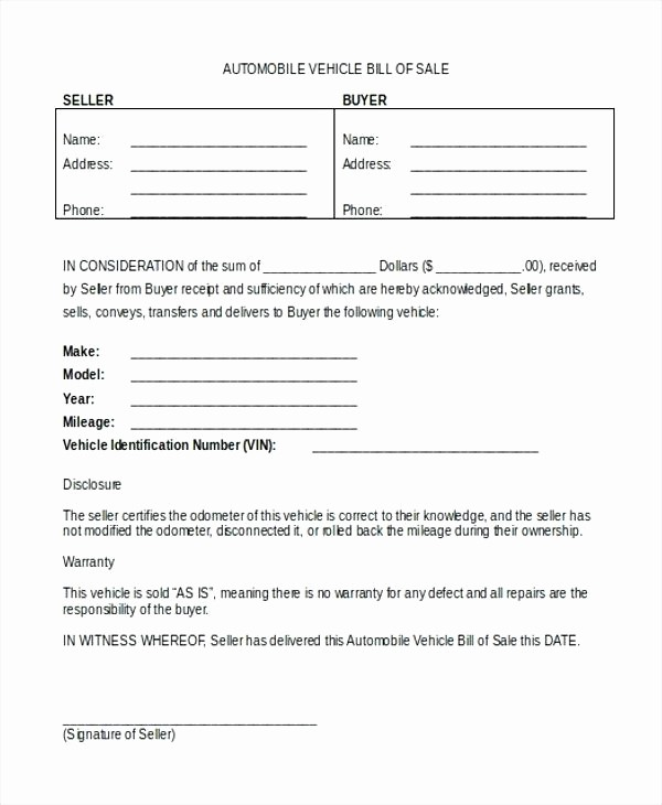 Automobile Bill Of Sale Illinois Awesome Bill Sale form for Car Abandoned Car Bill Sale Bill