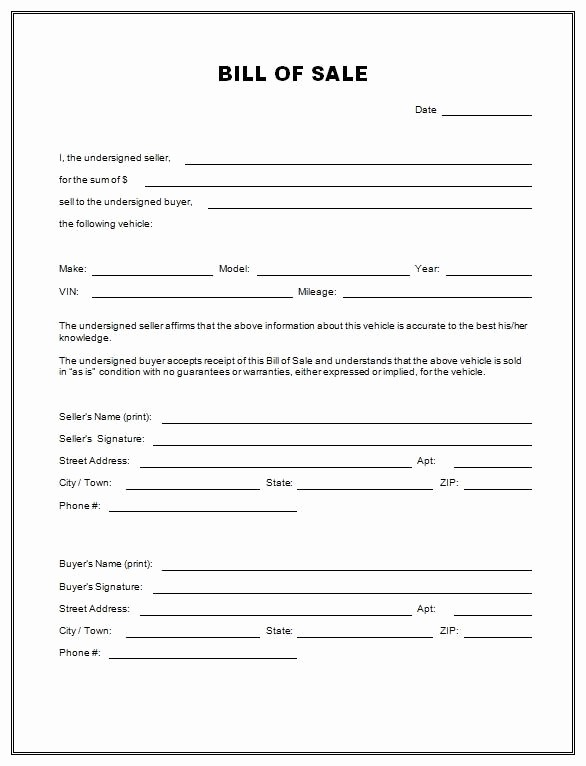 bill of sale template for caravan