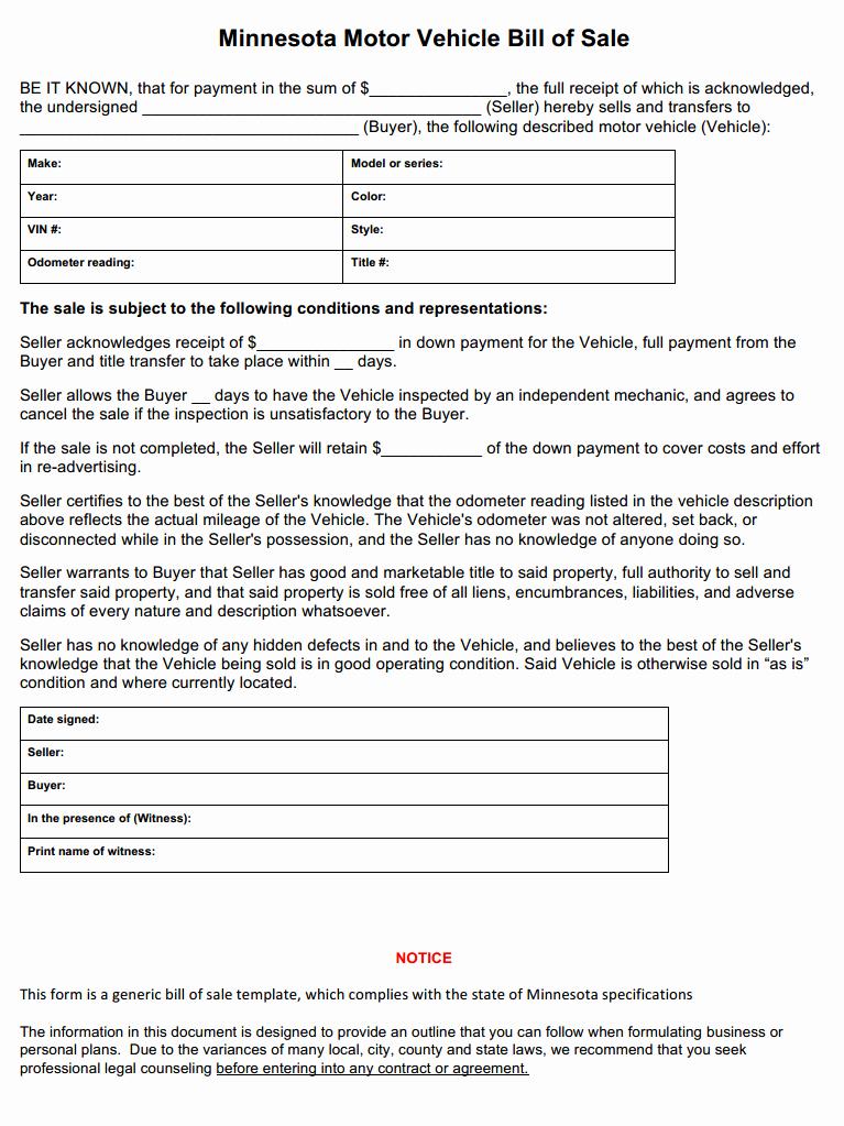 Automobile Bill Of Sale Illinois Beautiful Free Minnesota Vehicle Bill Of Sale form Download Pdf