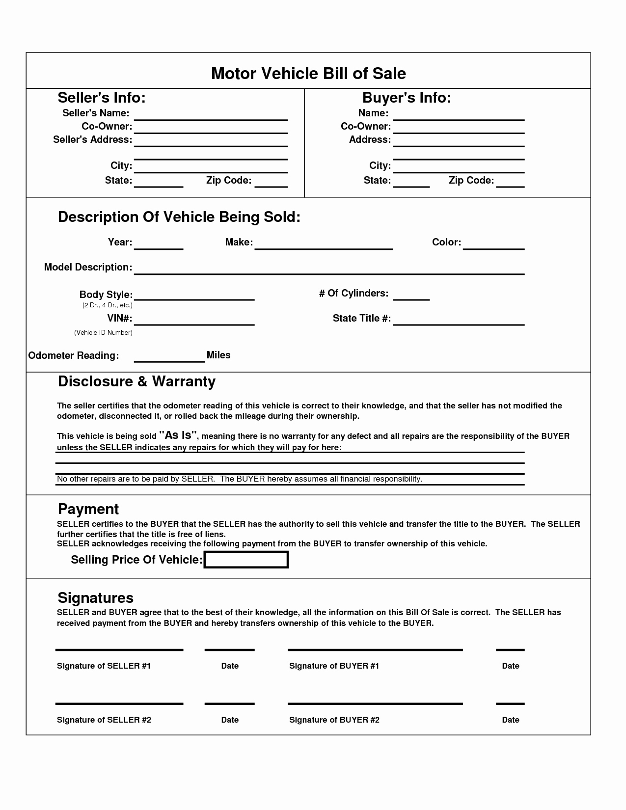 Automobile Bill Of Sale Ma Awesome Printable Car Bill Of Sale Pdf