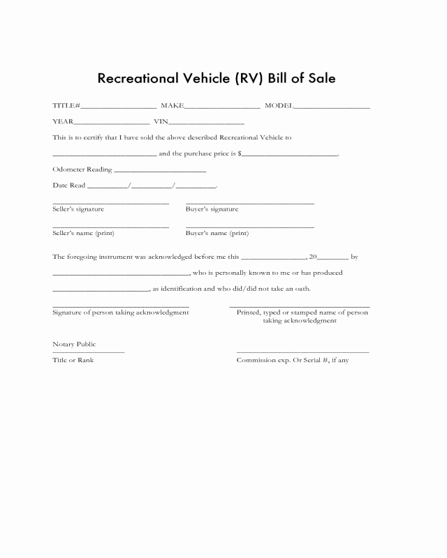 Automobile Bill Of Sale Ma Beautiful 2019 Recreational Vehicle Bill Of Sale form Fillable