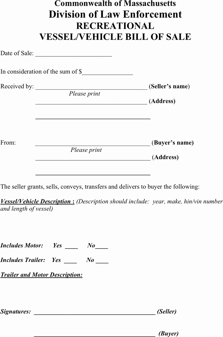 Automobile Bill Of Sale Ma Fresh Bill Of Sale Template Free Template Download Customize