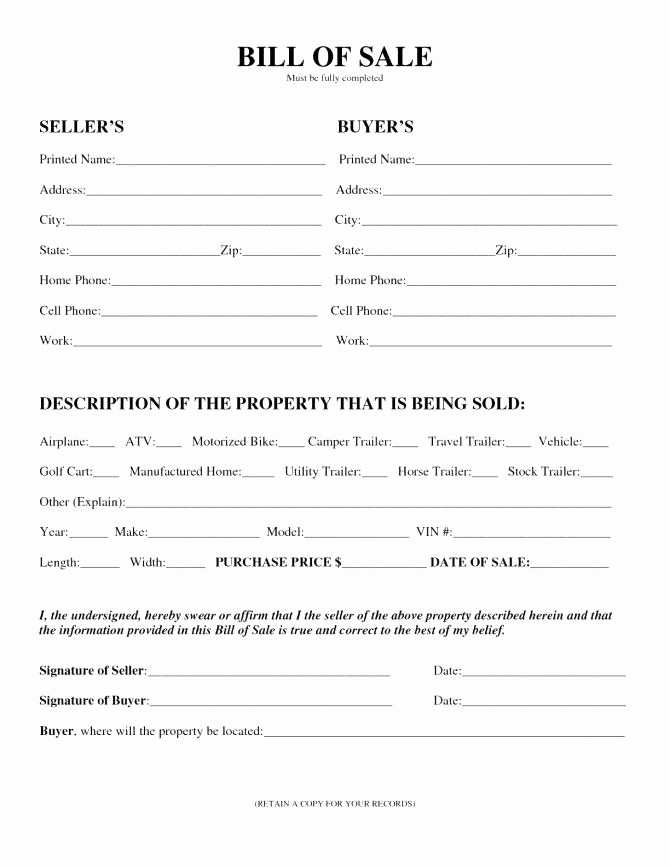 Automobile Bill Of Sale Nc Inspirational Free Bill Sale Template Nc with Notary – Btcromaniafo