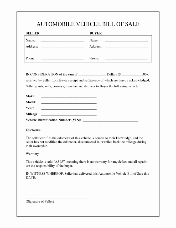 Automobile Bill Of Sale Nc Unique Bill Sale Template Nc form Awesome Free for Car Firearm