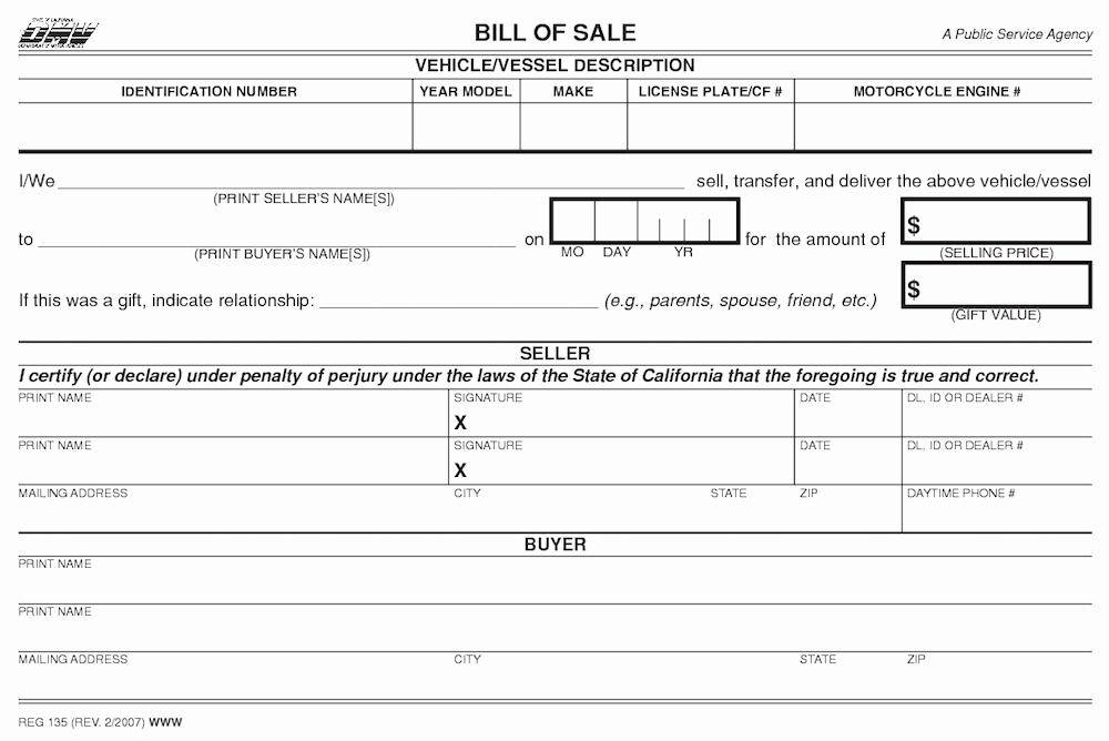 Automotive Bill Of Sale California Inspirational How to Gift A Car