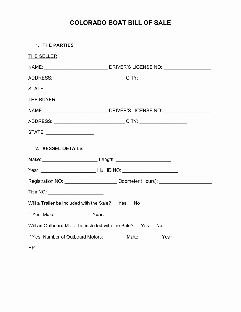Automotive Bill Of Sale Colorado Fresh Free Colorado Boat Bill Of Sale form Word Pdf